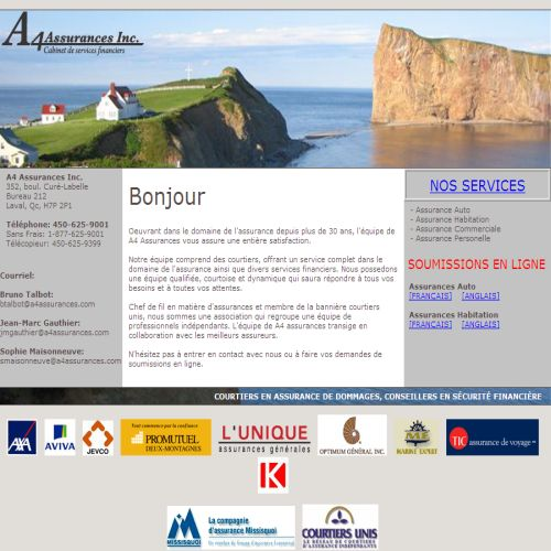 site web A4 Assurances Inc.