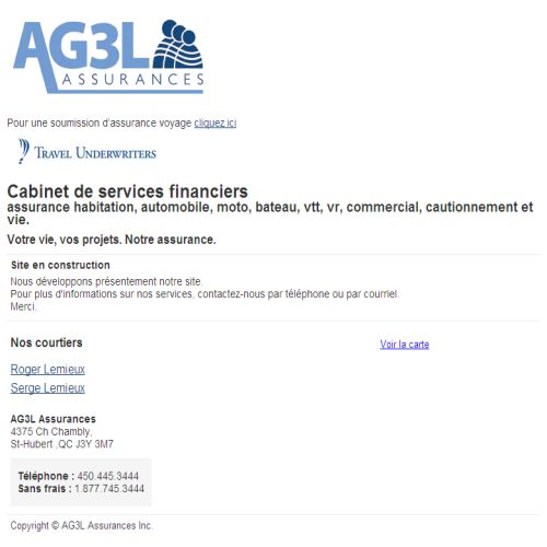 site web Ag3l Assurances Inc.