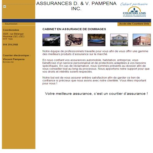 site web Assurances D & V Pampena & Ass Inc