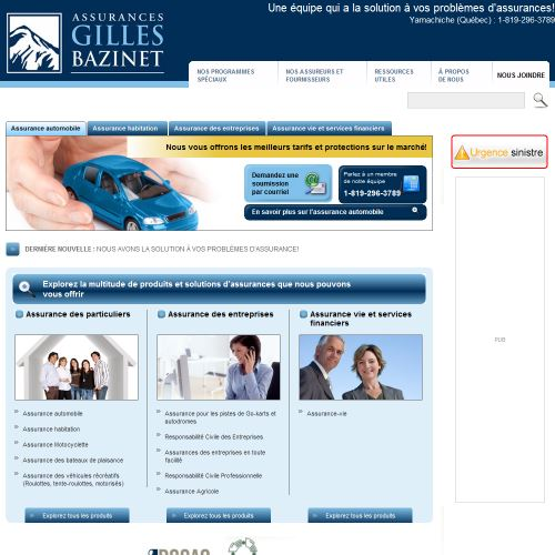 site web Assurances Gilles Bazinet Inc