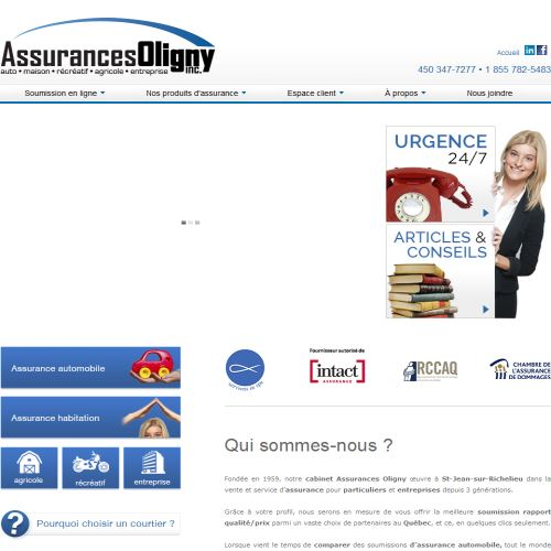 site web Assurances Oligny Inc.