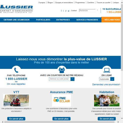 site web Lussier, Cabinet D'assurances Et Services Financiers