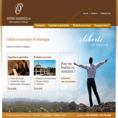site web Ovation Assurances Inc.